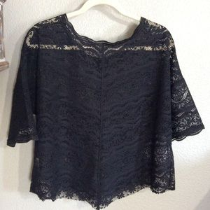 Free People Tops - EUC Small Free People Black Lace Top Short sleeved